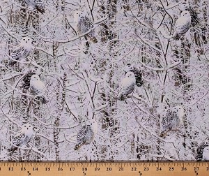Cotton Owls Snowy Owl Birds Winter Trees Woods Forest Snow Covered Branches Wildlife Nature Cotton Fabric Print by the Yard (WINTER-C6133-OWL)