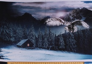 "28"" X 44"" Panel Owl Mountain Cabin Pine Trees Winter Snow Snowy Night Bird Nature Northwoods Landscape Call of the Wild Digital Print Cotton Fabric Panel (Q4459-128-MIDNIGHT)"