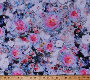 Cotton Hoffman Challenge 2018 Diamonds Roses Gems Gemstones Precious Stones Rhinestones Jewels Jewelry Jewellery Jewelers Flowers Abstract Floral Shine On! Jewel Cotton Fabric Print by the Yard (Q4433-162-JEWEL)