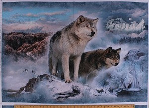 "31.75"" X 44"" Panel Wolves Wolf Wildlife Animals Woods Forest Mountains Nature Snowy Winter Landscape Scenic Northwoods Call of the Wild Digital Cotton Fabric Panel ( Q4439-183-GLACIER)"
