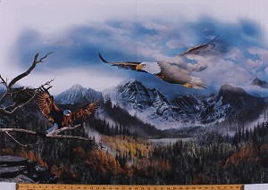 "29.5"" X 44"" Panel Majestic Bald Eagles Flying Realistic Birds Mountains Forest Northwoods Landscape Scenic Wildlife Nature Patriotic Call of the Wild Digital Print Cotton Fabric Panel (Q4489-SKY-16)"
