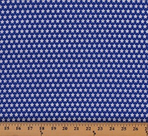 Cotton Stars White Stars on Blue Patriotic Fourth of July USA America Cotton Fabric Print by the Yard (2708M-5N-Blue)