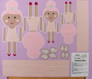 "36"" X 44"" Doll Panel Petunia Play Doll Dolly Sew A Doll Pink Purple Girls Kids Stuffed Toys Top Knot Doll Novelty of the Month Cotton Fabric Panel (P9004-PETUNIA)"