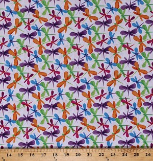 Cotton Dragonfly Colorful Dragonflies Insects Bugs Multi-Colored on White Bloom Bouquet Cotton Fabric Print by the Yard (B-9188-01)