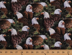 Cotton Bald Eagles Birds of Prey Wildlife Patriotic Wild Wings Flying High Allover Cotton Fabric Print by the Yard (65171-2160715)
