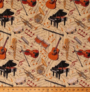 Cotton Musical Instruments Sheet Music Notes Piano Violins Drums Musicians Orchestra Let The Music Play Cotton Fabric Print by the Yard (9716-30)
