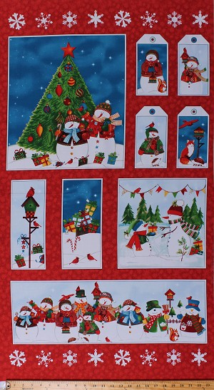 "24"" X 44"" Panel Snowmen Christmas Tree Gifts Holidays Birds Animals Snowflakes Gift Tags Winter Wishes Cotton Fabric Panel (50255P-X)"