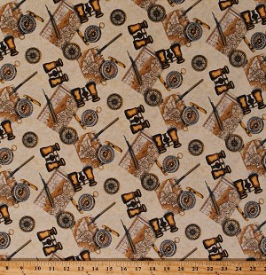 Cotton Africa African Expedition Maps Travel Explore Explorer Binoculars Compass Beige Cotton Fabric Print by the Yard (51633-3)