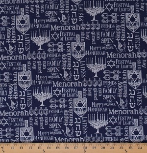 Cotton Happy Hanukkah Menorah Candles Star of David Jewish Hebrew Faith Navy Cotton Fabric Print by the Yard (SC9651-SILVER)