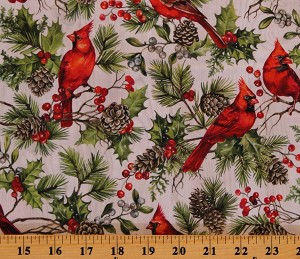 Cotton Cardinals Winter Holiday Birds Pinecones Holly Berries on Pale Gray The Scarlet Feather Cotton Fabric Print by the Yard (23474-91)