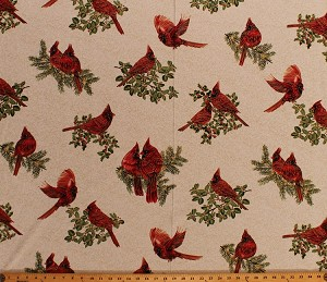 Cotton Cardinals Birds Winter Christmas Holly Berries Leaves Branches Gold Metallic Shimmer on White Scroll A Festive Season Holiday Cotton Fabric Print by the Yard (2644M-07)
