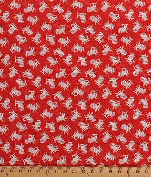 Cotton Adirondack Porch Deck Chairs on Red Shoreline Summer Cotton Fabric Print by the Yard (50112)