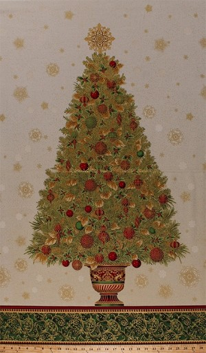 "24"" X 44"" Panel Christmas Tree Pine Tree Fir Trees Festive Holiday Ornaments Bulbs Snowflakes Gold Leaves Metallic Shimmer Glitter Winter's Grandeur 4 Cotton Fabric Panel (SRKM-15884-223-HOLIDAY)"