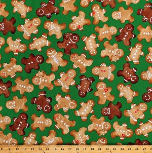 Cotton Gingerbread Man Christmas Cookies Gingerbread Men on Green Winter Novelties II Holiday Cotton Fabric Print by the Yard (05749-44)