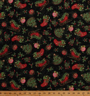 Cotton Christmas Stockings Ornaments Festive Pine Trees Sleigh Holly Vines Berries Winter Holiday Cotton Fabric Print by the Yard (66676-A620715)