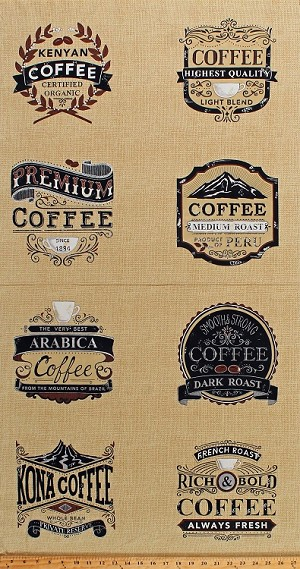 "23"" X 44"" Panel Coffee Roasts Names Types Arabica Kenyan Coffeehouse Barista Cafe Brew Tan Burlap-Look Cotton Fabric Panel (19850-11)"