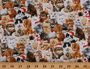 Cotton Cats Kitties Fireside Kittens All Over Christmas Holiday Cute Cotton Fabric Print by the Yard (9063-44)