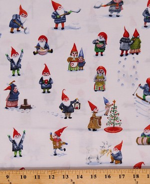 Cotton Winter Gnomes Garden Gnomes Playing in Snow Fun Playful Holiday White Cotton Fabric Print by the Yard (51874-2)