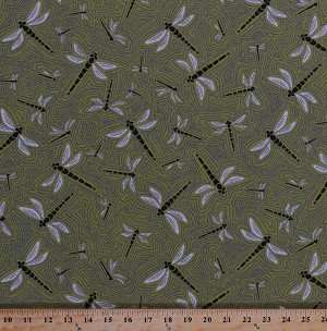 Cotton Dragonflies Dragonfly Flying Insects Bugs Wings Outlines Moss Green Figment Cotton Fabric Print by the Yard (AGP-16529-45-moss)