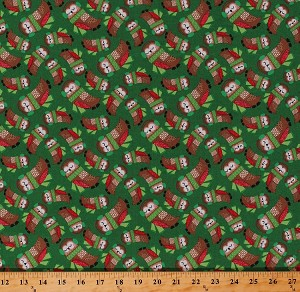 Cotton Cute Owls with Scarves Ear Muffs on Green Christmas Holiday Birds Festive Merry Forest Kids Cotton Fabric Print by the Yard (13905-GREEN)