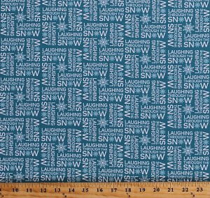 Cotton Laughing Through the Snow Snowflakes Winter Wonderland Quotes Sayings Words on Blue It's Chilly Outside Cotton Fabric Print by the Yard (AWN-17307-88 ICE)