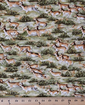 Cotton Deer Impala Antelopes Doe Herd Grass Landscape Animals African Wildlife Safari Savannah The Lone Prairie Cotton Fabric Print by the Yard 2162P-2N