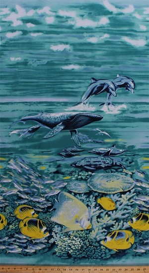 "23.5"" x 44"" Panel Fish Dolphins Whales Ocean Sea Animals Water Underwater Coral Reef Sea Frolic Cotton Fabric Panel (1649-23139-a)"
