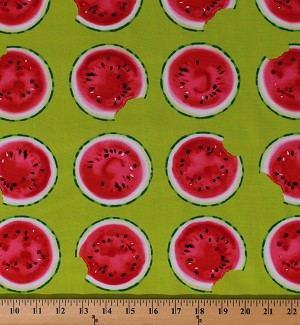 Cotton Watermelons Fruits Watermelon Slices Summer Picnic Food Kitchen Mad for Melon Lime Green Cotton Fabric Print by the Yard (06320-44)