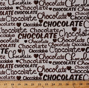 Cotton Chocolate Words Hearts Candy Food Sweets Confectionery Oh Fudge! Chocolate on Cream Cotton Fabric Print by the Yard (08353-07)