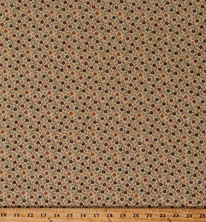 Cotton Kansas Troubles Milestones Flowers Small Scale Floral Scroll on Tan Cotton Fabric Print by the Yard (9612-11)