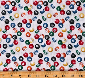 Cotton Billiards Billiard Balls Games Game Night Man Cave Cream Cotton Fabric Print by the Yard (52412-4)