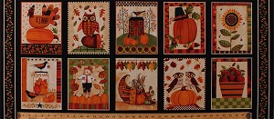 "17.5"" X 44"" Panel Give Thanks Thanksgiving Squares Pumpkins Owls Turkeys Leaves Acorns Sunflowers Cornucopia Fall Autumn Autumnal Cotton Fabric Panel (8562-041ivory)"