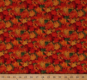 Cotton Autumn Leaves Maple Leaf Fall Autumnal Nature Landscape Medley Cotton Fabric Print by the Yard (478MULTI)