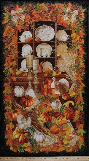 "23.5"" X 44"" Panel Harvest Cornucopia Horn of Plenty Thanksgiving Table Scene Pumpkins Squash Turkey Dishes Candles Autumnal Leaves Fall Cotton Fabric Panel (HARVEST-CM4290)"