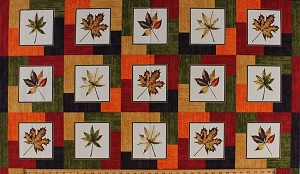 "23.5"" X 44"" Panel Shades of Autumn Fall Colorful Japanese Maple Leaves in Cream Squares Floral Autumnal Cotton Fabric Panel (00443) (COPY)"
