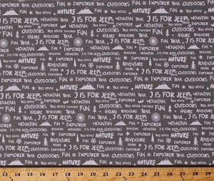 Cotton Camping Words Phrases Mountains Sun Trees Birds Stars Font Nature Explorer Outdoors Vacation Road-trip Gray J is for Jeep® Cotton Fabric Print by the Yard (C6464-Gray)