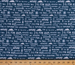 Cotton Camping Words Phrases Mountains Sun Trees Birds Stars Font Nature Explorer Outdoors Vacation Roadtrip Travel Blue J is for Jeep® Cotton Fabric Print by the Yard (C6464-Blue)