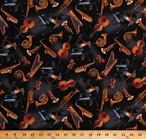 Cotton Musical Instruments Pianos Saxophones Harps Violins Trumpets French Horns Music Band Orchestra Concerto on Black Cotton Fabric Print by the Yard (06240-12)