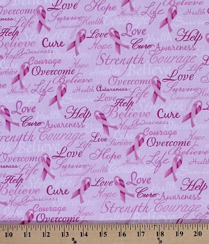 Cotton Pink Breast Cancer Words Calligraphy Bows Cotton Fabric Print by the Yard (GAIL-C7659-pink)