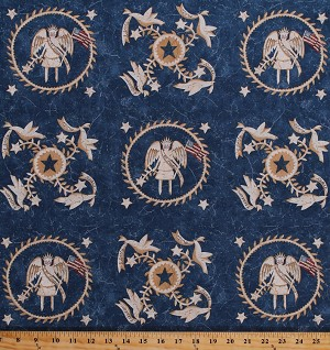 Cotton Liberty Angels Doves United States of America USA Patriotic Maid of Honor Blue Let Freedom Ring Primitive Quilter's Cotton Fabric Print by the Yard (18148-B)