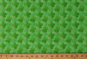 Cotton St Patrick's Day Shamrocks Four Leaf Clovers Green Gold Sparkles Swirls Cotton Fabric Print by the Yard (15729916)