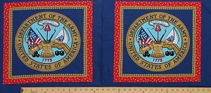 "17.5"" X 44"" Panel United States Department of the Army Seal Blue Cotton Fabric Panel (c-4k)"