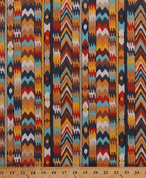 Cotton Tribal Southwestern Southwest Stripes Chevrons Designs African Africa Bukhara Cotton Fabric Print by the Yard (PWSL049-TERRA)