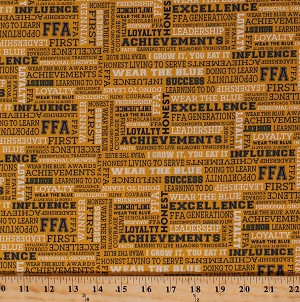 Cotton FFA Forever Blue Agricultural Education Words Quotes Mottos Sayings Future Farmers of America Gold Cotton Fabric Print by the Yard (C7215-Gold)