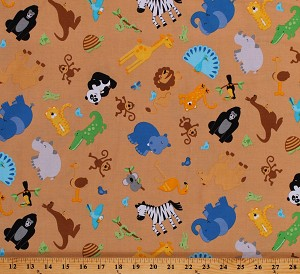 Cotton Zoo Animals Kids Brown Giraffe Tiger Monkey Cotton Fabric Print by the Yard (C3030-ZOOFARI-BROWN)