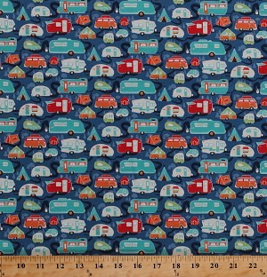 Cotton Campers Camping Trailers Caravans Road Trip Tents Tenting Vacation Tepee Trees Roads Retro Travel Blue Cotton Fabric Print by the Yard (C5622-BLUE)