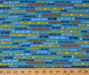 Cotton Construction Road Work Signs Cones Words Phrases The Big Dig Kids Blue Cotton Fabric Print by the Yard (24927-2)