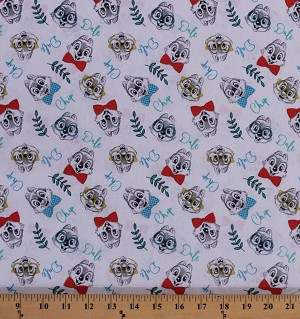 Cotton Chip and Dale Disney Chipmunks Cartoons Cartoon Characters Animals Kids Children's White Cotton Fabric Print by the Yard (61809-G550715)
