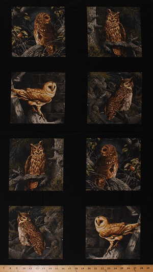 24' X 44' Panel Owls Barn Owls Screech Owl Birds Noctural Animals Wildlife Nature Majestic Woods Northwoods Cotton Fabric Panel (8585-K)