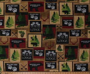 Cotton Moose Trail Lodge Bears Deer Bucks Hunting Cabin Northwoods Brown Cotton Fabric Print by the Yard (1649-26682-A)